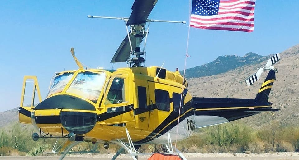 Yellow Bell 205A-1++ heavy-lift helicopter available from Helicopter Express.