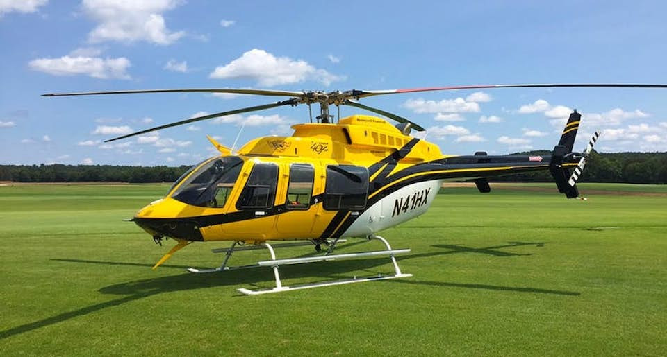 Yellow Bell 407HP utility helicopter available from Helicopter Express.