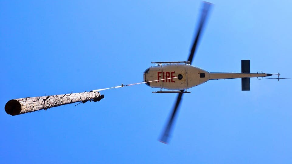 helicopter flies while suspending tree log