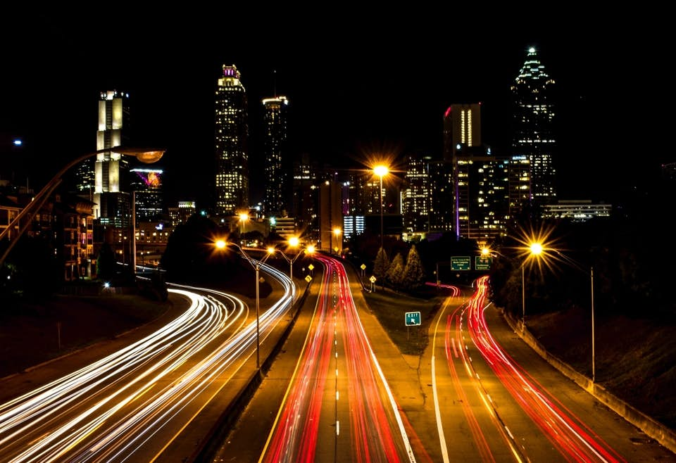 Time lapse of traffic on Jackson Street Bridge in Atlanta, Georgia.